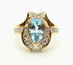 Ladies 14k Yellow Gold Pear Cut Aquamarine Cocktail Ring With Diamonds.size 6.75