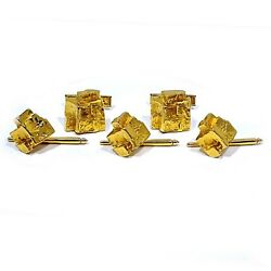 Lindsay Solid 14k Yellow Gold Nugget Style Cufflinks And Shirt Studs Tuxedo Set