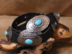 Vintage Sterling Silver Turquoise Concho Belt
