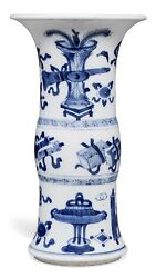Nice Chinese Antique Blue And White Gu Vase From Christie's Kangxi Period.