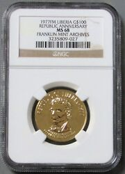 1977 Fm Archives Gold 787 Minted Liberia Republic Anniversary Ngc Mint State 68