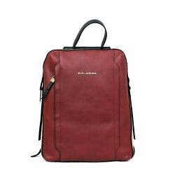 Woman backpack PIQUADRO CIRCLE red leather rucksack with zip New CA4576W92R