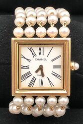Chanel Modemoiselle 18ct Gold And Cultured Pearl Watch- Rare