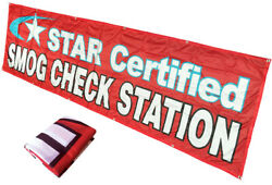 3x10 Ft Star Certified Smog Check Station Banner Sign Rb - Polyester Fabric