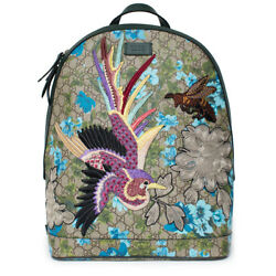 Gucci XL GG Floral Print Backpack Bag Leather Spring Embroidery Bird Italy New