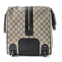 Gucci Signature Duffle Brown Black Luggage Leather bag Roller Roll Wheels New 1