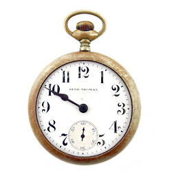 Seth Thomas White Dial Nickel Pocket Watch For Parts Or Repairs