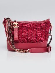 Chanel Pink Tweed and Leather Small Gabrielle Hobo Bag