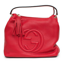 Gucci Soho Large Red Flame Leather Handbag Hobo Zip Strap Soft Italy Tag Bag New
