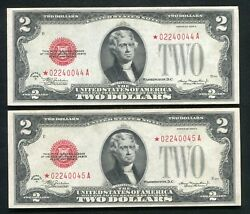 2 Consecutive Fr. 1505 1928-d 2 Star United States Notes Uncirculated