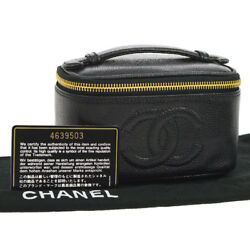 Auth CHANEL CC Cosmetic Vanity Hand Bag Pouch Black Caviar Leather VTG AK16595h