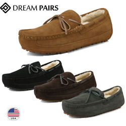 Dream Pairs Sheepskin Mens Suede Shearling Moccasin Toe Slippers Slip On Shoes