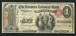 1865 1 The Farmers National Bank Of Reading Pa National Currency Ch. 696 Vf