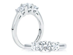 A. Jaffe .925 Sterling Silver Cz 3-stone Engagement Ring Style Me1704/100