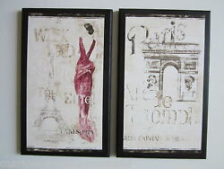 Paris Weekend travel French wall decor signs 2 pictures pink lady Eiffel Tower
