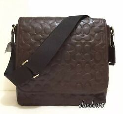 New Coach F71172 MENS HERITAGE Leather Embossed Map Shoulder Crossbody Bag Brown