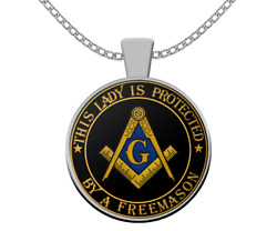 Masonic Necklace - This Lady Is Protected By A Freemason - Family Gift Wife
