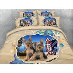 2 Yorkshire Terrier Puppies Dogs King Queen & Twin Size Duvet Cover Bedding Set