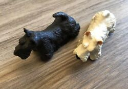 Pair Papo Scottish Terrier Toy Dog Figures Black White