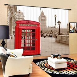 London England Style Retro Phone Booth 3D 2 Panel Curtain Set Blackout Style Red