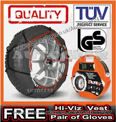 Car Tyre Tuv Approved 9mm Snow Chains 185/65 R13 + Hi-viz Vestgloves And Mat-a4