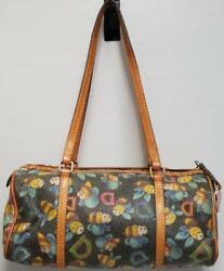 Dooney & Bourke Signature DB Bumble Bee Vinyl & Leather Barrel Tote Bag Purse