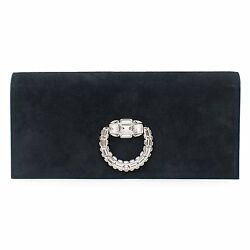 Gucci Lady Lock Black Evening Bag Swarovski Silver Black Suede New Authentic