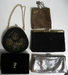 5 VTG Handbags Y & S ETRA La Regale Beads Silver Mesh Black Evening Clutch