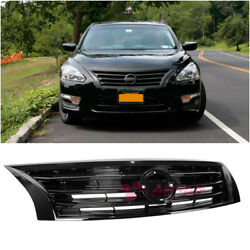 Glossy Black Front Bumper Upper Grille For 13-15 Nissan Altima Sedan Airflow