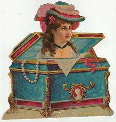 Rare Large Victorian Mechanical Die Cut - Lady Pops Up Out Of Jewelry Box 1880s