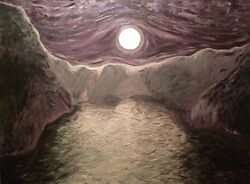 Original Artwork On Canvas Acrylic Painting Of Moon Mountains And Ocean