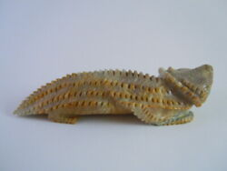 Exquisite Big Realistic Zuni Horned Toad Lizard Fetish Carving Alvin Haloo 15