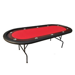 Ids 96 Light Series Poker Table Red Speed Cloth Racetrack With Folding Legs