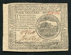 Cc-65 May 20, 1777 4 Four Dollars Continental Currency Note Uncirculated