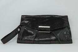 Kooba Black Silver Leather Clutch Evening Bag - See the Video!