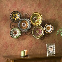 Tuscan Plates Wall Art Sculpture, 3-d Metal, Colorful Hand Painted Glaze Finish