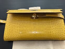 NWT HERMES Crocodile Wallet Bifold 2018 Collection Small yellow