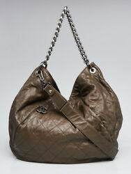 Chanel Olive Green Quilted Calfskin Leather Coco Pleats Large Hobo Bag