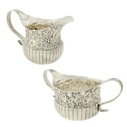 Victorian And Co. Repousse Sterling Silver Sugar Bowl And Creamer Jug 1880