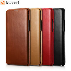 Icarer 100 Real Genuine Leather Flip Cover Case For Samsung Galaxy S20 Note 8 9