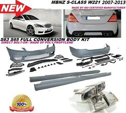 Mb 07-13 W221 S Class S65 S63 Amg Style Front Rear Bumper Body Kit S550 S600 Pdc