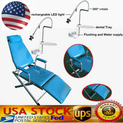 Dental Portable Folding Mobile Chair W/ Led Light+tray+waste Basin+water Supply