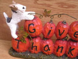 Wire Fox Terrier pair GIVE THANKS STACKED PUMPKINS Decoration!