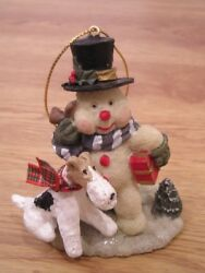 Wire Fox Terrier with a SNOWMAN CHRISTMAS TREE ORNAMENT!