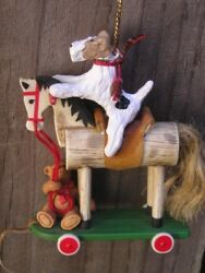 Wire Fox Terrier on a WHEELED HORSE with a BEAR Christmas Tree Ornament!
