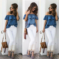 US Women's Sexy Off The Shoulder Tops Casual Party Shirt Cotton Denim Blouse