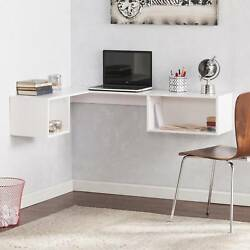 Small Space Wall-mount Corner Floating Desk W/2 Storage Cubbies Shelves White