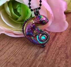 Chrome Rainbow Color Chameleon Cage Pendant with Aqua Glow In The Dark Orb Cage