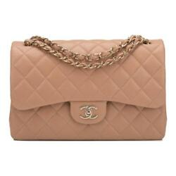Chanel Beige Shiny Quilted Caviar Jumbo Classic Double Flap Bag