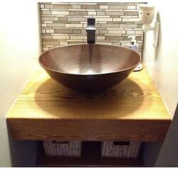 Solid Copper Oval Vessel Sink Countertop Bathroom Basin Antique Aged Finish